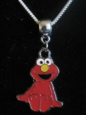 ELMO SESAME STREET COOKIE MONSTER SILVER PLATED CHAIN NECKLACE PENDANT CHARM PIN