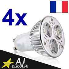 4x Ampoules LED GU10 9w Dimmable (3x3w) - Equivalent 45/50W
