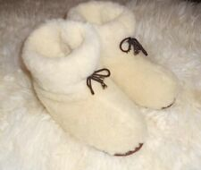 100% pure sheep Wool SLIPPERS, New genuine felt merino white Boots Women's sizes