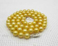 Yellow AAA+ Grade 6.5-7.5mm Pearl Necklace 14kt White Gold Fine Christmas Gift