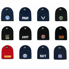 Embroidered US Military Logo Short Beanie Beanies Knit Caps Cap Hats Hat Winter