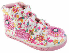 Girls Pretty Pink Floral Canvas Casual Ankle Boots Velcro Party Shoes Size 6-1