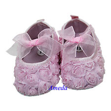 Newborn Baby Girls Light Pink Rosettes Ribbon Rose Party Crib Shoes 0-18M