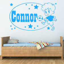 Young Football Player with Personalised  Name / Kids Room Wall Sticker