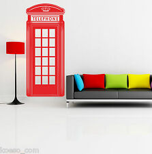 "Adesivo da parete ""London Red Telephone Box""Vinyl Wall design Stickers Decals"