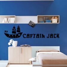 BOYS PIRATE wall stickers kids personalised pirates ship bedroom sticker vinyl