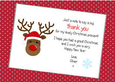 10 Personalised Childrens Christmas Reindeer Thank You Cards
