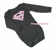 Pink Super Hero Baby Black One Piece Cotton Girl Bodysuit Jumpsuit Romper NB-12M