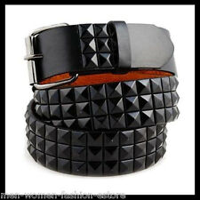 New Unisex Mens Women 3Row Black Pyramid Studded Leather Belt Punk Rock Goth Emo