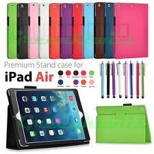 For iPad Air Premium Leather Stand Case Slim Folding Folio Protective Cover Pen