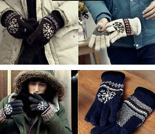 HOT Men's Special Snowflake Pattern Full Finger Warm Casual Thick Gloves Mittens