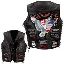 Mens Leather Biker Motorcycle Harley Rider Chopper Vest 14 Patches Eagle