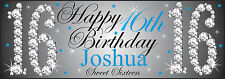 PERSONALISED 16TH HAPPY BIRTHDAY BLUE PARTY BANNER SWEET 16 ANY NAME ANY AGE PVC