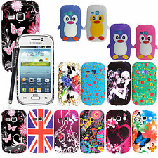 For Samsung Galaxy Young S6310 S6312 Printed Silicone Back Fit Case Cover+Stylus