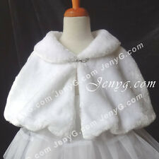#P01 Flower Girls/Wedding/Pageant/Party/Formal/Holiday Poncho, White 0-14 Years