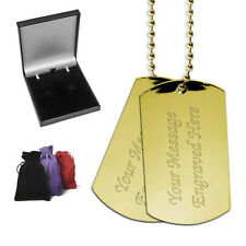 2 Heavy Gold Colour Steel Dog Tags Personalised Gift Birthday Christmas Present