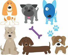 Dogs set of 6 colour FABRIC wall stickers kids room moveable reuseable