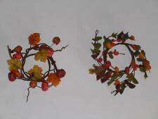Thanksgiving Fall Napkin Rings Pumpkins Leaves Vines Buds Orange Rust Green NEW