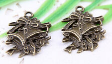 Wholesale 18/42Pcs Bronze Plated(Lead-Free)Christmas bell Charms Pendant 25x17mm