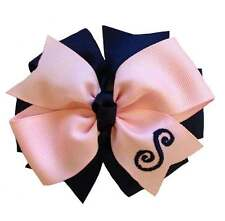 Pink and Navy Monogram Hair Bow (You Choose Font)