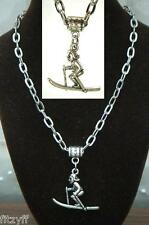 "20"" 24"" Inch Chain Necklace & Skier Pendant Charm Ski Snow Ice Skiing Souvenir"