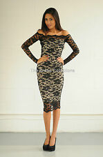 New womens ladies sexy off shoulder party long sleeve midi lace bodycon dress