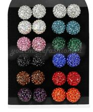 Shamballa Stud Earrings 10mm Crystal Clay Disco Ball 10 Colors