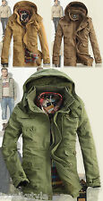 Mens Beige Green d.g A Star Trench Military Fur Lined Down Parka Coat Jacket