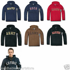 Zip Fleece Hoodie Sweatshirt Military Navy Air Force Army Coast Guard Marines