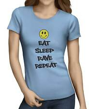 Eat Sleep Rave Repeat Smiley Face Women's Funny T-Shirt 10 Colors All Sizes.