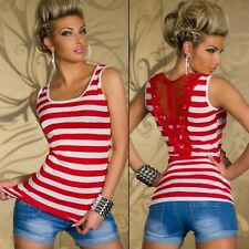Nautical STRIPED White BLACK Red PINK Top MESH Lace BACK Summer T Sleeveless M