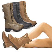 Buckle Lace Up Straps Zipper Mid Calf Combat Military Low Heel Flat Ankle Boots