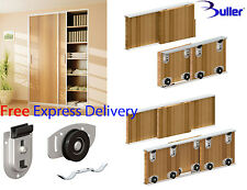 ARES Sliding Wardrobe Door Track Kit for DIY Bottom rolled for doors up to 70kg.
