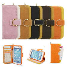 Galaxy Note, Note 2, 3 Premium Soft Leather Case Stand Pocket wallet Flip Cover