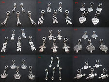 20 Tibetan Silver Cute Charms Beads With Dangle Ring Fit European Bracelet DIY