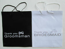 Bridesmaid OR Groomsman Wedding Gift Bags Bridal Party Black White Mr & Mrs 9""