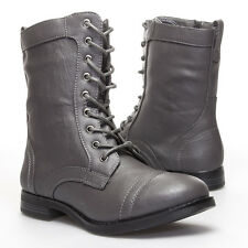 Gray Round Toe Lace Up Mid Calf Combat Military Flat Low Heel Ankle Boot US 5-10