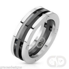 Stainless Steel 8mm Men's Fancy Three Band Silver & Black Colored Ring Size 8-14