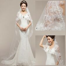 """luxury novelty 195"""" 1layer sequins car bone embroidered stereo feel bridal veil"""