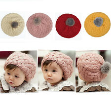 New Cute Baby Infant Girls Toddler Winter Warm Knitted Crochet Hat Cap Beanie