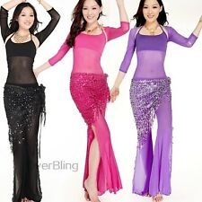 Dancing Belly Dance Set for Womens Tops+Vest+Pants Three Pieces Performance Suit