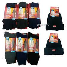 Mens Winter Thermal Heat Control Insulated Hat Gloves & Socks 3PC Set 3 Colours