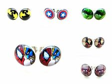2 Pairs 0.8mm Multiple Super Heroes Cartoon Acrylic Fake Ear Plugs Earrings Stud