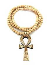 "NEW ANKH CROSS GOOD QUALITY WOOD PENDANT 8mm/36"" WOODEN BEAD NECKLACE XJ217"