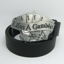 Western New Cowboy Poker Lifes A Gamble Mens Metal Belt Buckle Leather Silver