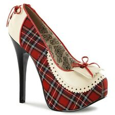 BORDELLO TEEZE-26 RED PLAID PIN-UP PAISLEY BOW PLATFORM HEELS PUMPS WOMEN SHOES