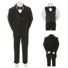NEW Baby Boy Kid Teen Formal WEDDING Tail TUXEDO Satin SUIT Black New Born to 20