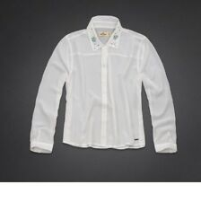 NEW Hollister by Abercrombie Bettys Hammerland Embellished Collar Shirt M, L