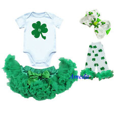 Baby Green Pettiskirt Tutu St Patricks Day Bodysuit Shamrock Party Dress 0-6M