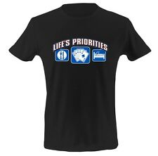 Men's Funny Graphic T Shirt LIFE'S PRIORITIES Humor Rude Tee FREE SHIPPING WORLD